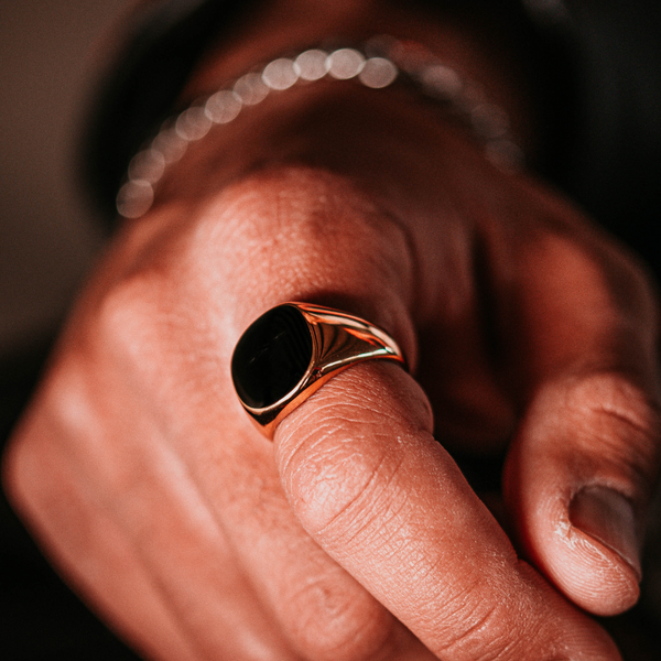 Black Polished Signet Ring - Gold | Mens Gold Ring | Twistedpendant