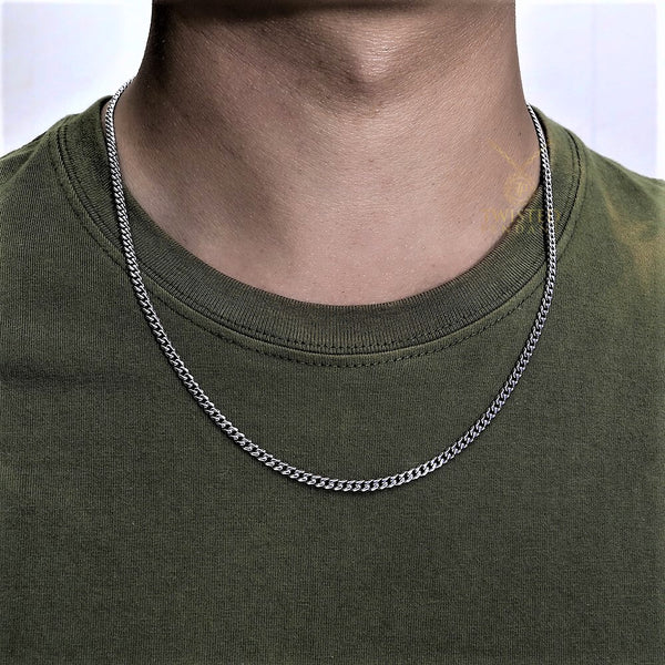 Silver Cuban Curb Chain (3MM) | Mens Silver Necklace | Twistedpendant