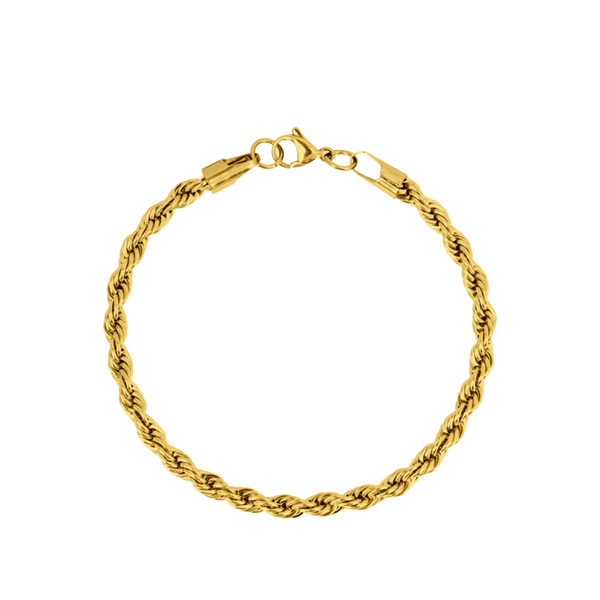 Gold Twisted Rope Bracelet (5MM) | Twistedpendant