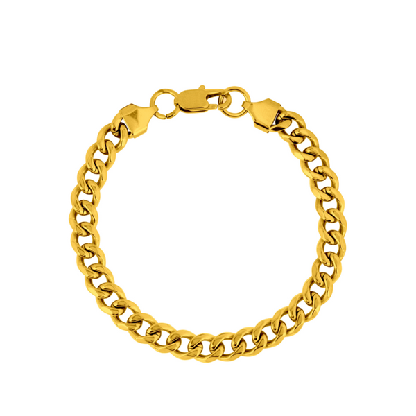 Mens Gold Cuban Curb Bracelet Chain (8MM) | Twistedpendant