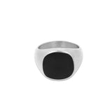 Black Polished Signet Ring - Silver | Mens Silver Ring | Twistedpendant