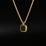 Black & Gold Onyx Pendant - Twistedpendant