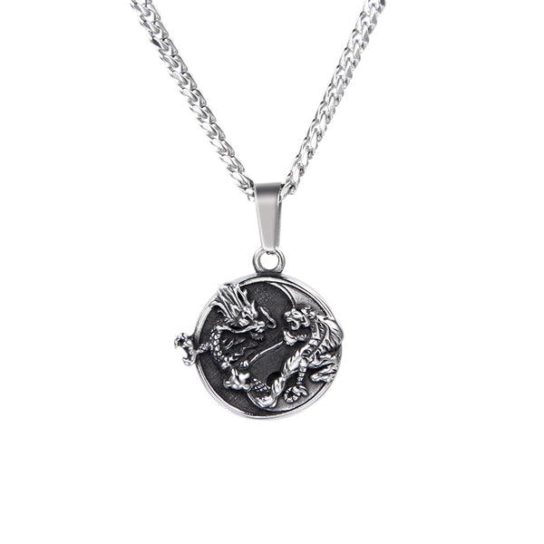 Mens Dragon Tiger Pendant Silver | Mens Necklaces | Twistedpendant