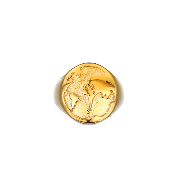 Gold world signet Ring mens - twistedpendant