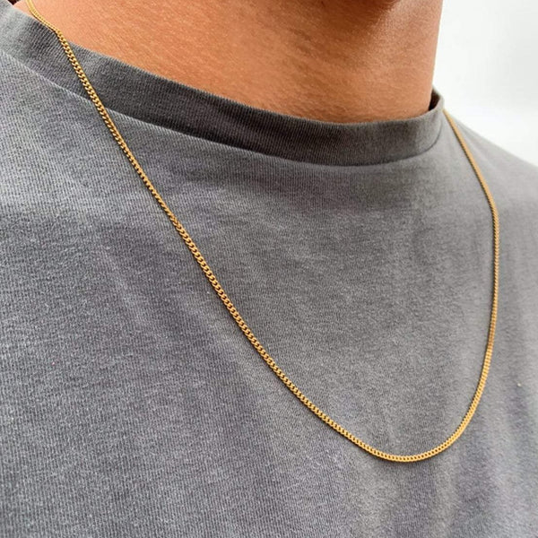 Gold Thin Cuban Curb Chain (1.5MM) | Twistedpendant