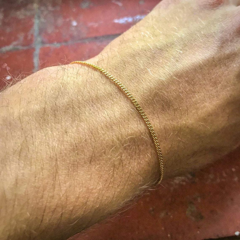 Gold Thin Cuban Bracelet (1.5MM) - Twistedpendant