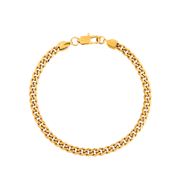 Mens Gold Cuban Curb Bracelet Chain (5MM) | Twistedpendant