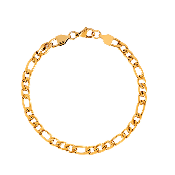 Mens Gold Figaro Bracelet Chain | Twistedpendant