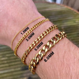 Gold Thin Cuban Bracelet (1.5MM)