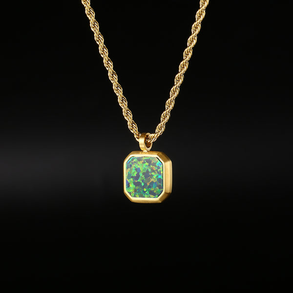 Opal Stone Pendant Green Necklace | Twistedpendant