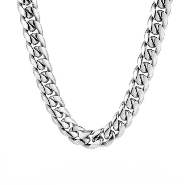 Silver Chunky Cuban Curb Chain (12MM) | Twistedpendant