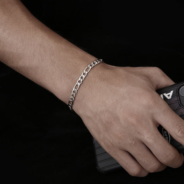 Mens Silver Figaro Bracelet Chain (5MM) | Twistedpendant