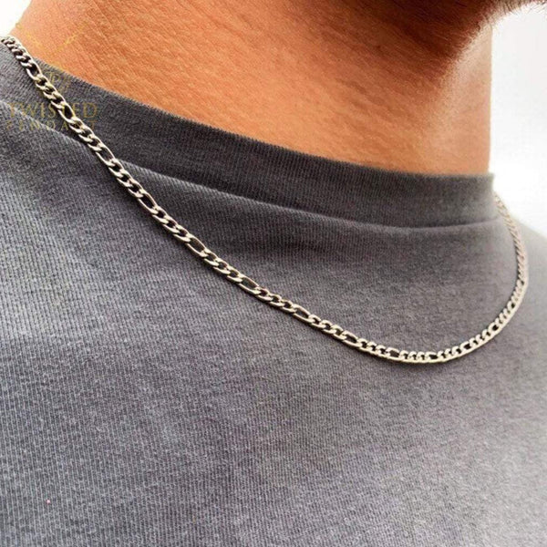 Silver Figaro Chain | Mens Necklace Chains | Twistedpendant