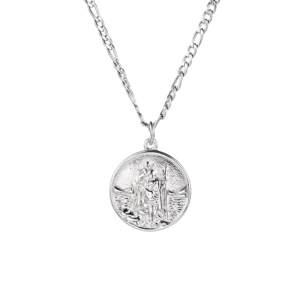 Mens ST Christopher Pendant Silver | Mens Necklaces | Twistedpendant