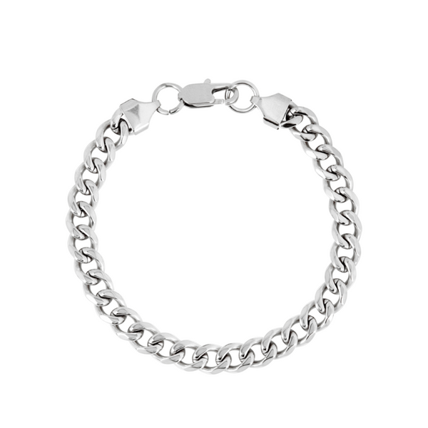 Mens Silver Cuban Curb Bracelet Chain (8MM) | Twistedpendant