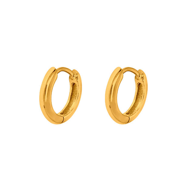 14k Gold Huggie Hoop Earrings (12MM) | Mens Earrings - Twistedpendant
