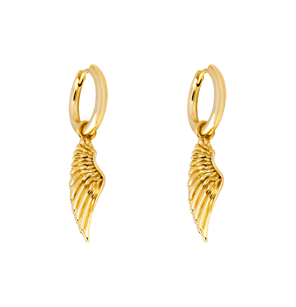 14K Gold Wing Mens Dangle Earring - Twistedpendant
