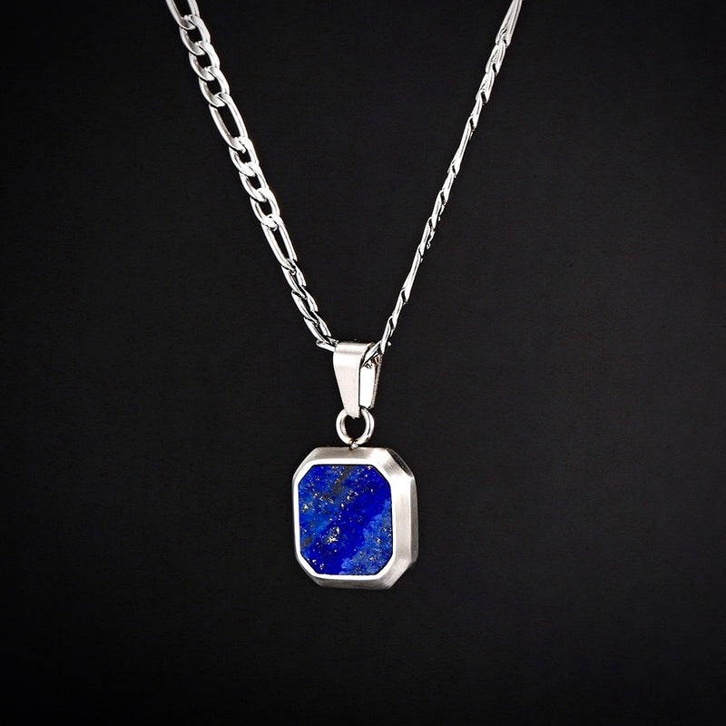 Royal Blue Stone Pendant Silver - Twistedpendant