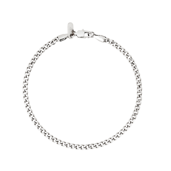 Mens Silver Cuban Curb Bracelet Chain (3MM) | Twistedpendant