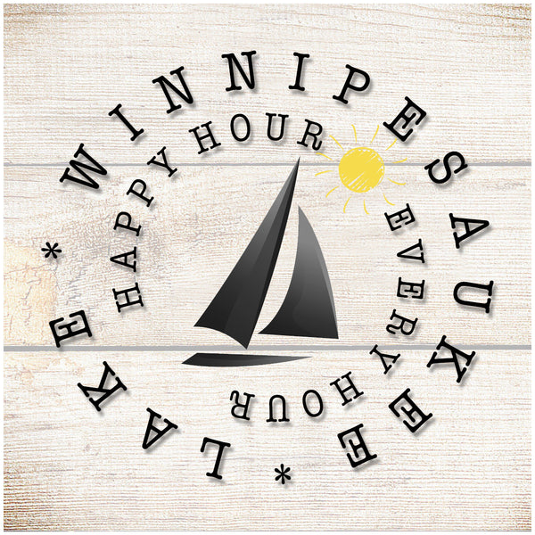 Sandstone Coaster- Happy Hour Every Hour sailboat sun