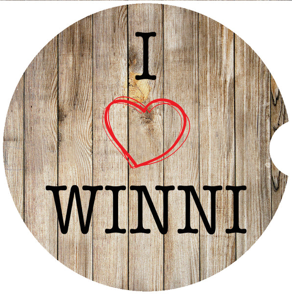 Car Coaster Sandstone- I love Winni version A