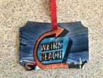 Ornament Aluminum 2 sided 3.94 x 2.75 Weirs Beach sign/ Weirs Beach Docks at sunrise