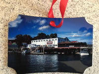 Ornament Aluminum 2 sided 3.94 x 2.75 Weirs Beach Sign/Winnipesaukee Pier