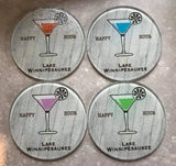 "Glass Coaster 3.93"" Round w/Chinchilla Finish Martini Happy Hour Orange"