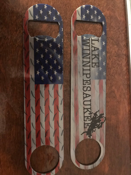 Bottle opener (Pub Style)- American flag and Winnipesaukee with flag (double sided)