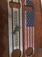 Bottle opener (Pub Style)- American flag and Winnipesaukee (double sided)