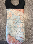 Neoprene Wine tote black handle/black back- Map of Winnipesaukee
