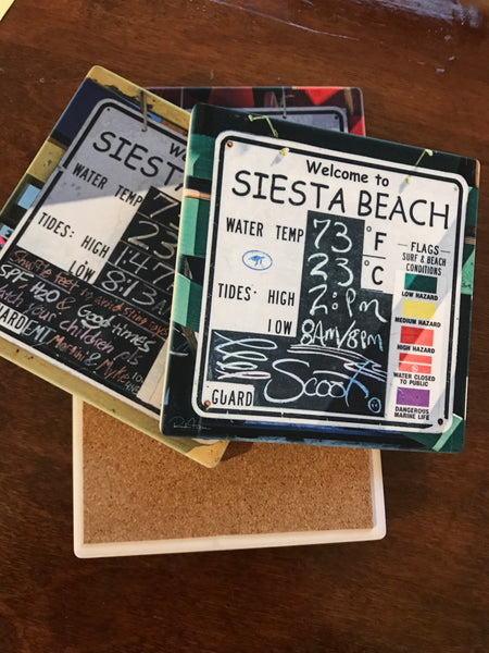 Sandstone Coaster- Beach condition signs on Sietsa Key- set of 4