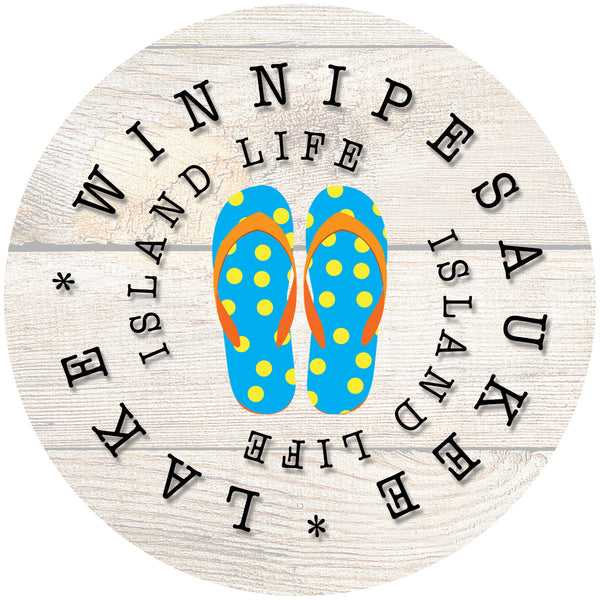 "Glass Coaster 3.93"" Round w/Chinchilla Finish ISLAND LIFE BLUE FLIP FLOP"