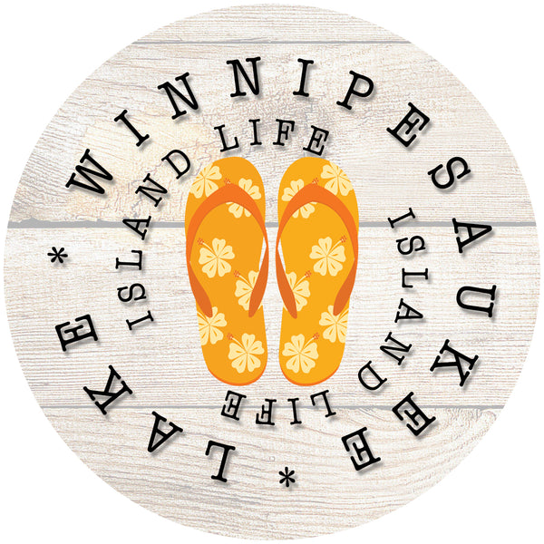 "Glass Coaster 3.93"" Round w/Chinchilla Finish ISLAND LIFE ORANGE FLIP FLOP"