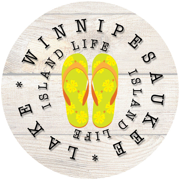 "Glass Coaster 3.93"" Round w/Chinchilla Finish ISLAND LIFE YELLOW FLIP FLOP"
