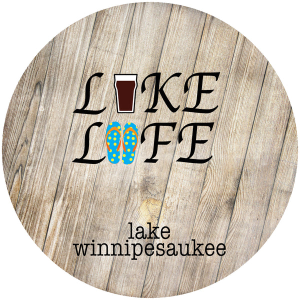 "Glass Coaster 3.93"" Round w/Chinchilla Finish LAKE LIFE"