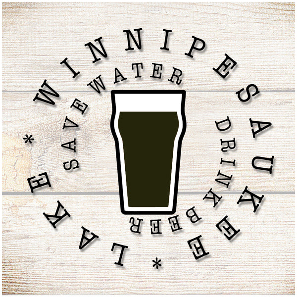 Sandstone Coaster- Save water drink beer- Black