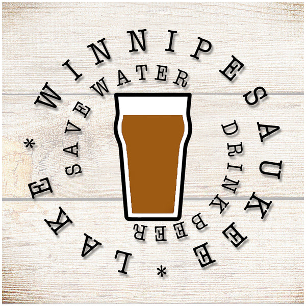 Sandstone Coaster- Save water drink beer- Copper