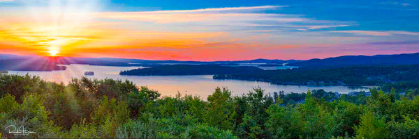 Aluminum photo panel- Sunrise from the mountain overlooking Weirs Bay