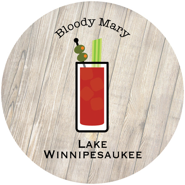 "Glass Coaster 3.93"" Round w/Chinchilla Finish Bloody Mary"