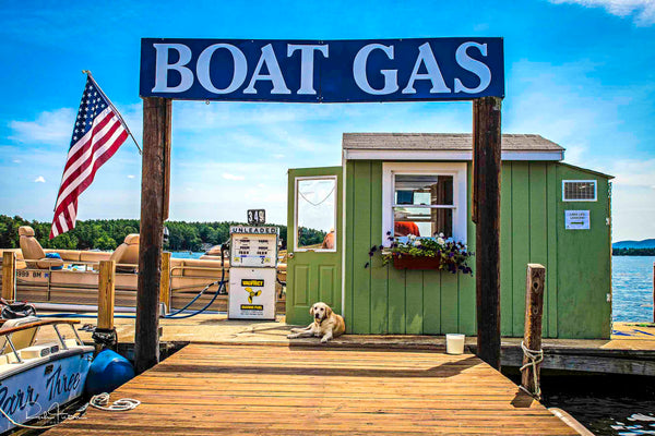Aluminum Photo panel- Wofeboro Gas Dock with Dog