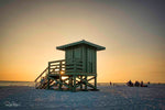 Aluminum Photo panel- Green lifeguard shack on Siesta Key