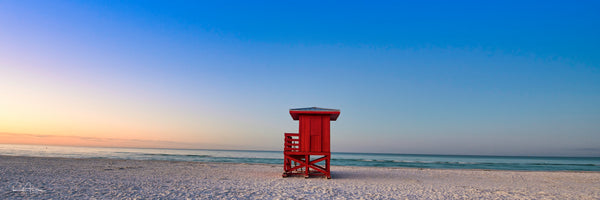Aluminum photo panel- Sunrise on Siesta Key Beach with Red guard shack