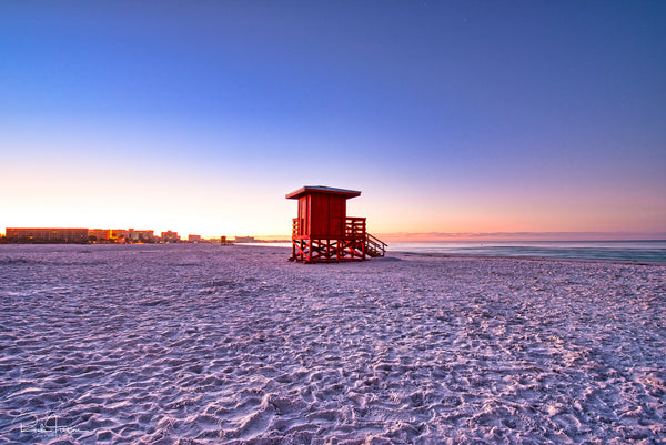 Aluminum Photo panel- Red lifeguard shack on Siesta Key