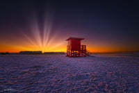 Aluminum Photo panel- Red lifeguard shack on Siesta Key with the sun rising