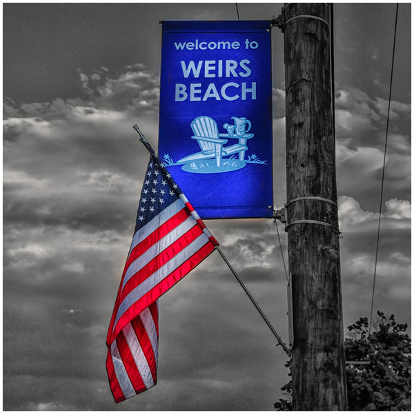 Sandstone Coaster- Weirs Beach Flag color/bw