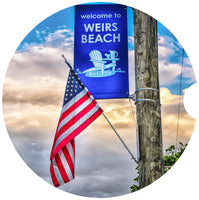 Car Coaster Sandstone- Weirs Beach Flag Version A