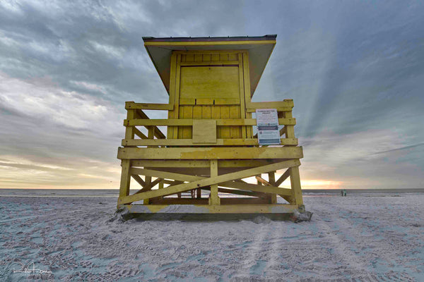 Aluminum Photo panel- Yellow lifeguard shack on Siesta Key pre sunset
