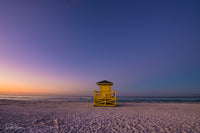 Aluminum Photo panel- Yellow lifeguard shack on Siesta Key