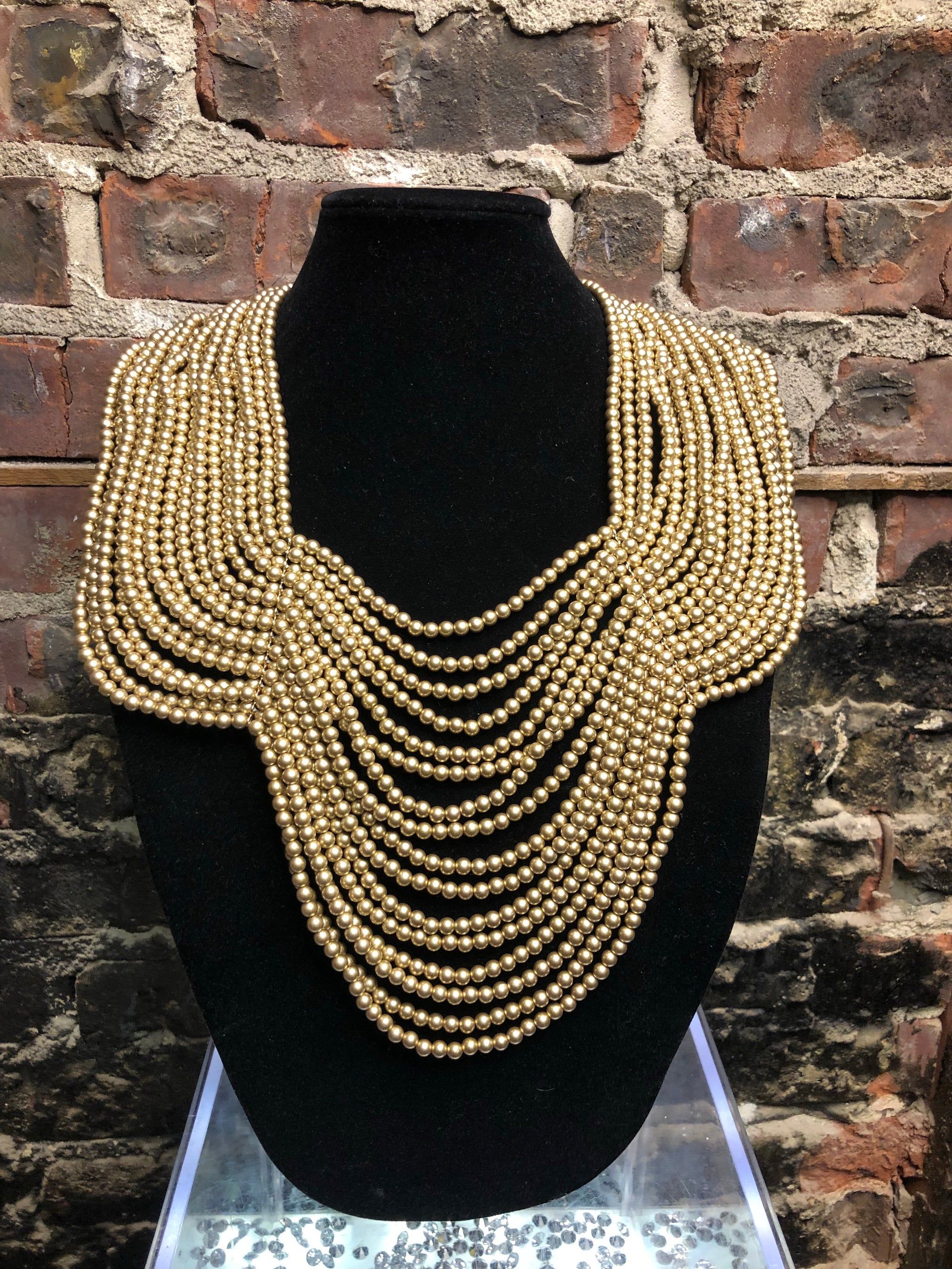 Pearl Bib Necklace- Gold